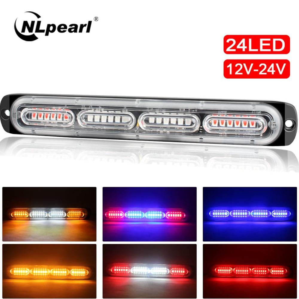 NLpearl Delgado 12V 24V 24LED luz estroboscópica policía coche Moto camiones LED indicador lateral lámparas blanco ámbar rojo azul intermitente luz de advertencia
