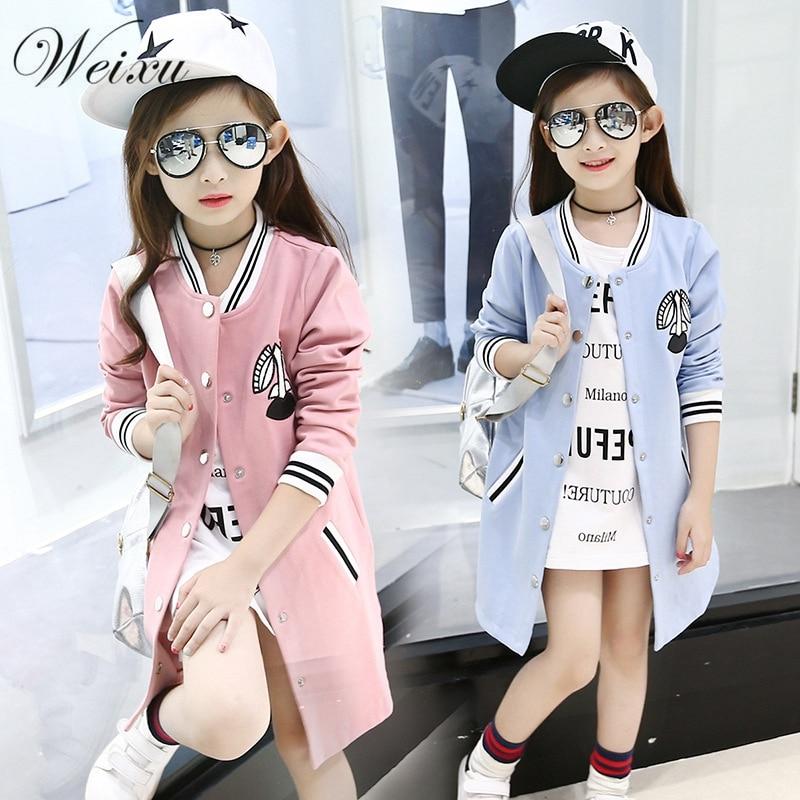 Weixu New Girl Baseball Jersey Coat Spring Autumn Kids Long Sleeve Cardigan Trench Jacket Coat School Children Outerwear Clothes