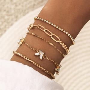 Modyle Gold Color Chain Bracelet Set Punk Vintage Crystal Butterfly Wedding Bracelets Bangles for Woman Wholesale