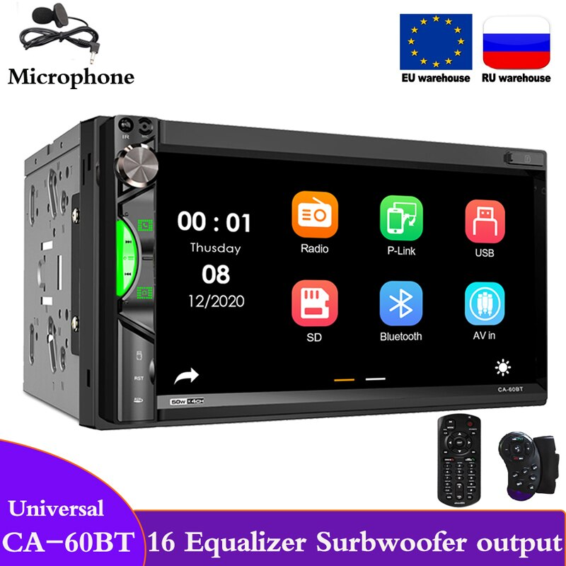 2 Din Radio 60BT For Universal Car Stereo Mirror link FM AM 16EQ Auto Multimedia Mp5 Player 2din Autoradio Bluetooth Wince Audio 7 hd touch screen 12v car stereo player 7010b car radio autoradio mp5 fm bluetooth mirror link 2 din car radio stereo receiver