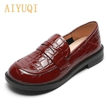 AIYUQI Loafers Women 2021 Spring New Patent Leather Red Casual Shoes Women British Style Thick Heel