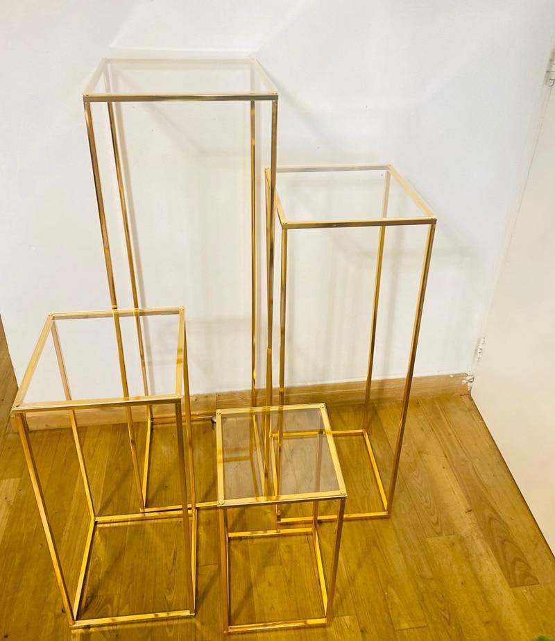 الزفاف قوس مطلية بالذهب هندسية زهرة حامل ديكور المنزل لامعة معدن الحديد مستطيل مربع الإطار خلفية