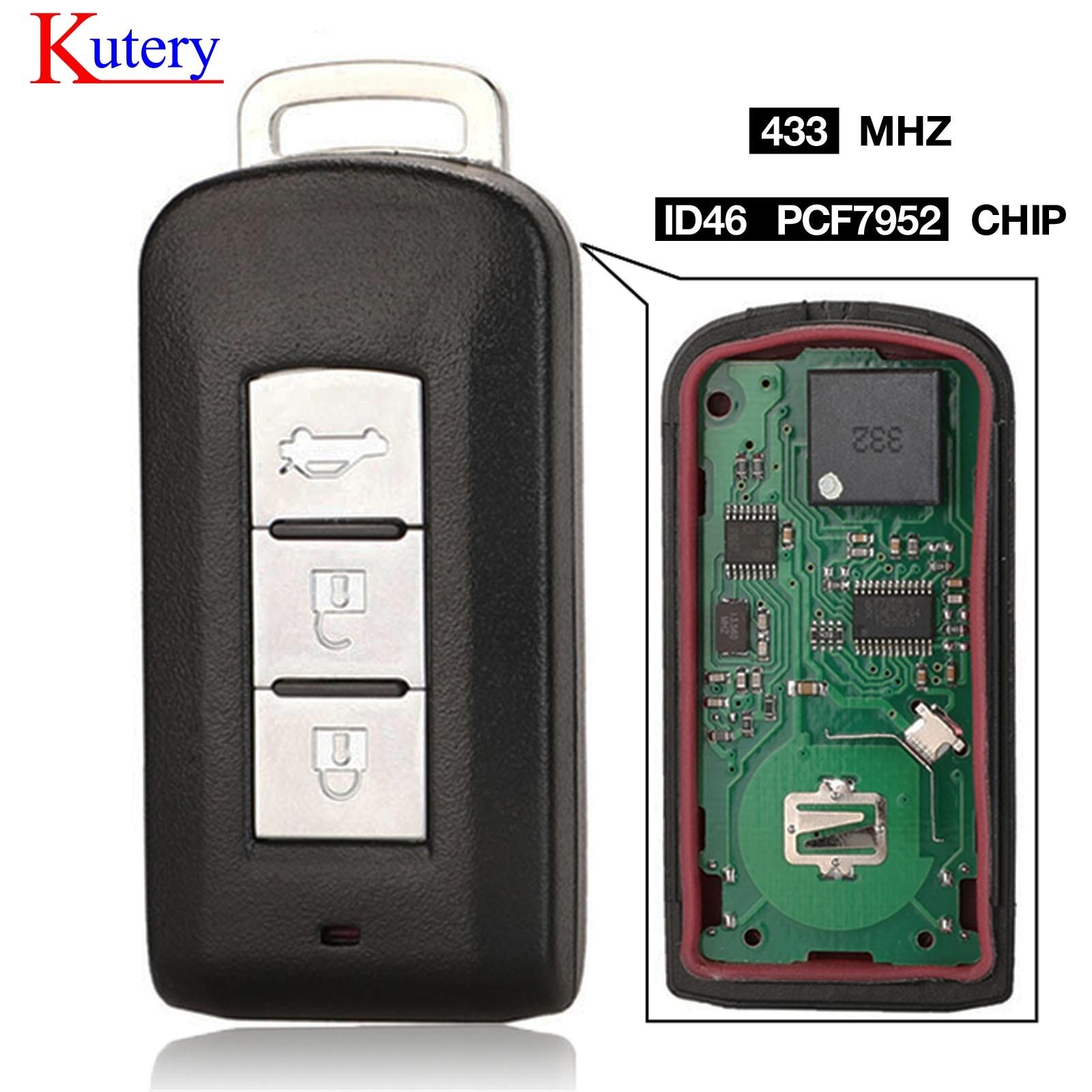 Kutery 3 botones remoto inteligente clave Fob FSK, 433MHz PCF7952 Chip para Mitsubishi Lancer Outlander ASX