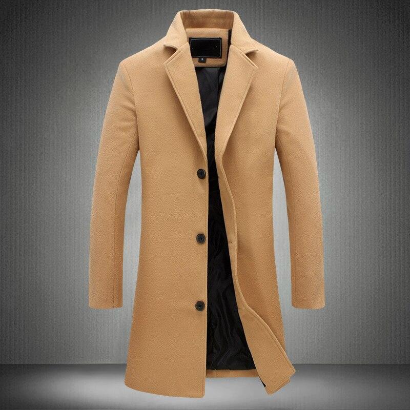 Otoño Invierno para hombre abrigo largo gabardina para hombre coreano Delgado Ajuste de talla grande abrigo de lana Casual manga larga caqui abrigo 4xl 5xl