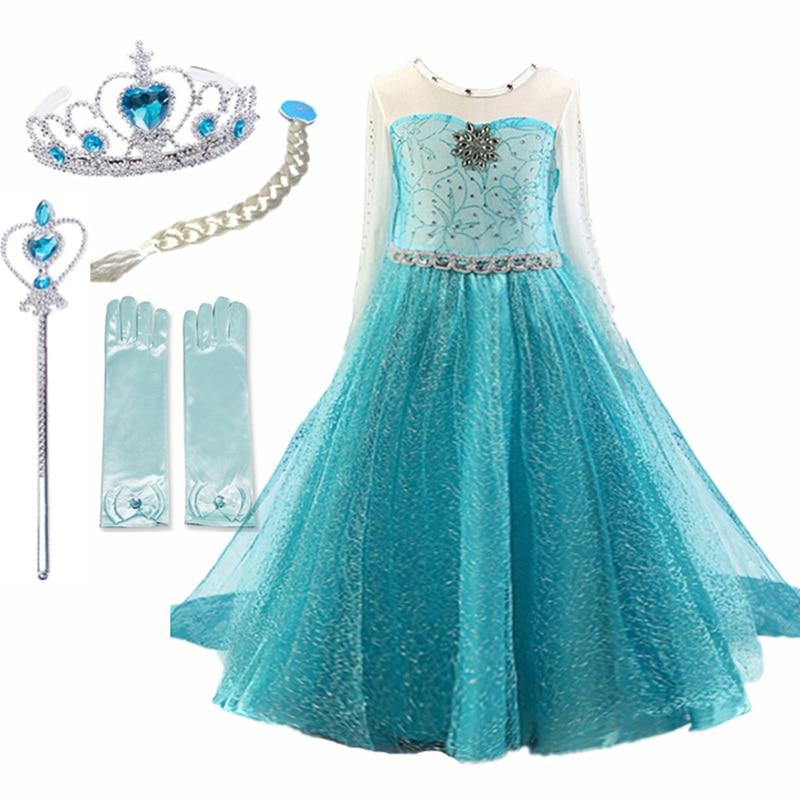 4-10T Girls Party Princess Dress Baby Girls Summer Elegant Long Sleeve Blue Dresses Birthday Party Fantasy Ball Dress