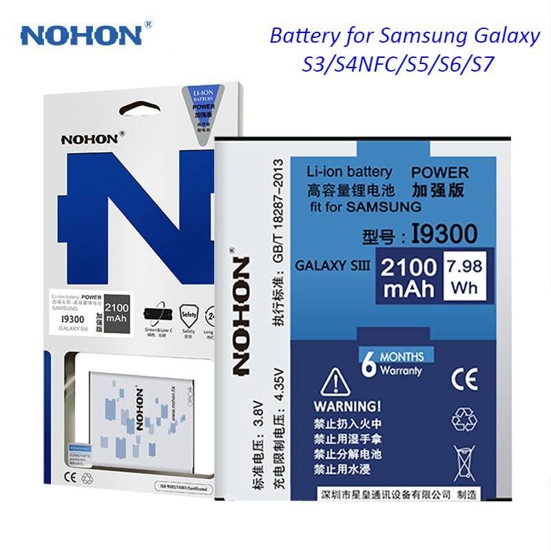 Nohon bateria do telefone móvel para samsung galaxy s3 s4 nfc s5 s6 s7 i9300 i9500 g900 SM-G920 SM-G9300 real de alta capacidade bateria