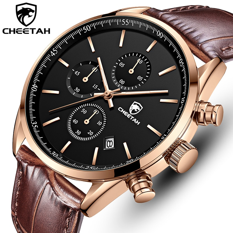 2021 New Men Watch CHEETAH Waterproof Quartz Men Watches Chronograph Sport Wristwatch Leather Busine