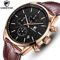 2021 New Men Watch CHEETAH Waterproof Quartz Men Watches Chronograph Sport Wristwatch Leather Business Male Clock Watch With Box