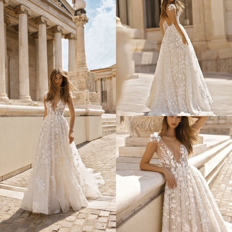 Berta Beach Wedding Dresses 3D Floral Applique Lace V Neck Sleeveless Backless Sweep Train Plus Size Bridal Gowns Robe purple tease v neck floral lace trim robe with thong