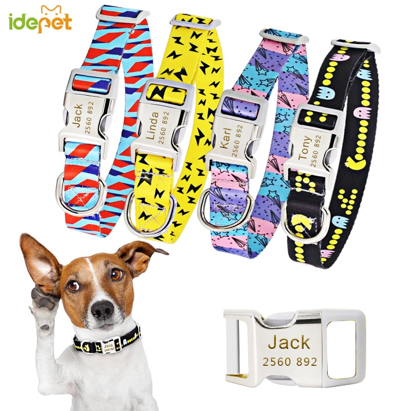 Dog Collar Personalized Nylon Big Small Dog Collars Chihuahua Puppy Collar Engrave Name ID for Small Medium Large Pet Pitbull 35 personalized dog collar nylon print dog collars customized puppy pet collar engraved name id for small medium large big dogs pug