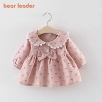 bear leader baby girl clothes 2021 newborn baby autumn cute dress kids solid cherry print dresses with bowknot princess dress