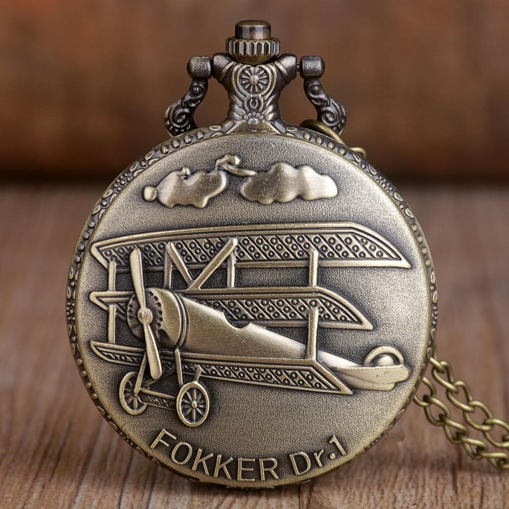 Vintage Bronze Pocket Watch Fokker Dr.1 Sculpture 3D Aircraft Pattern Quartz Pocket Watch Necklace Chain Pendant Men Women Gift