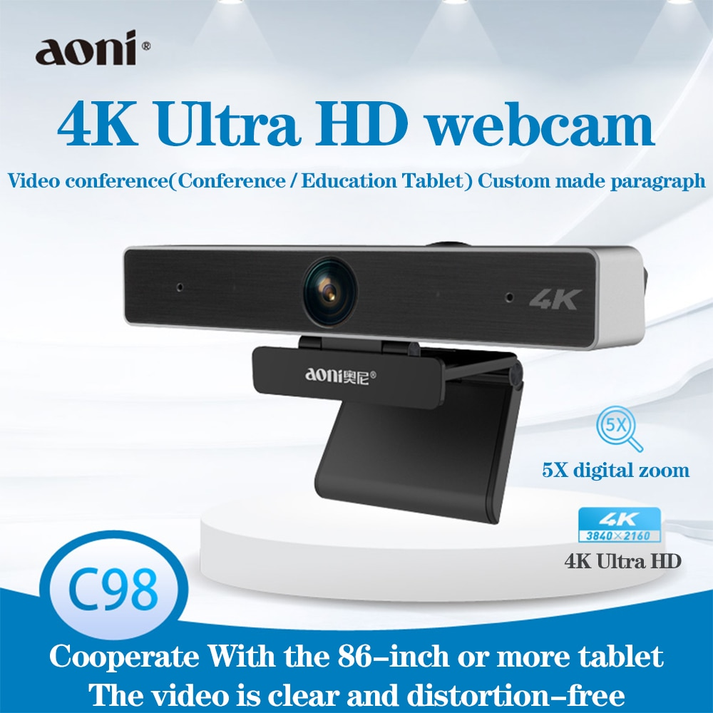 Aoni C98 HD كاميرا ويب 4k ضبط تلقائي للصورة لتسجيل تدفق الفيديو مع ميكروفون ، 5X كاميرا ويب رقمية للتكبير للكمبيوتر