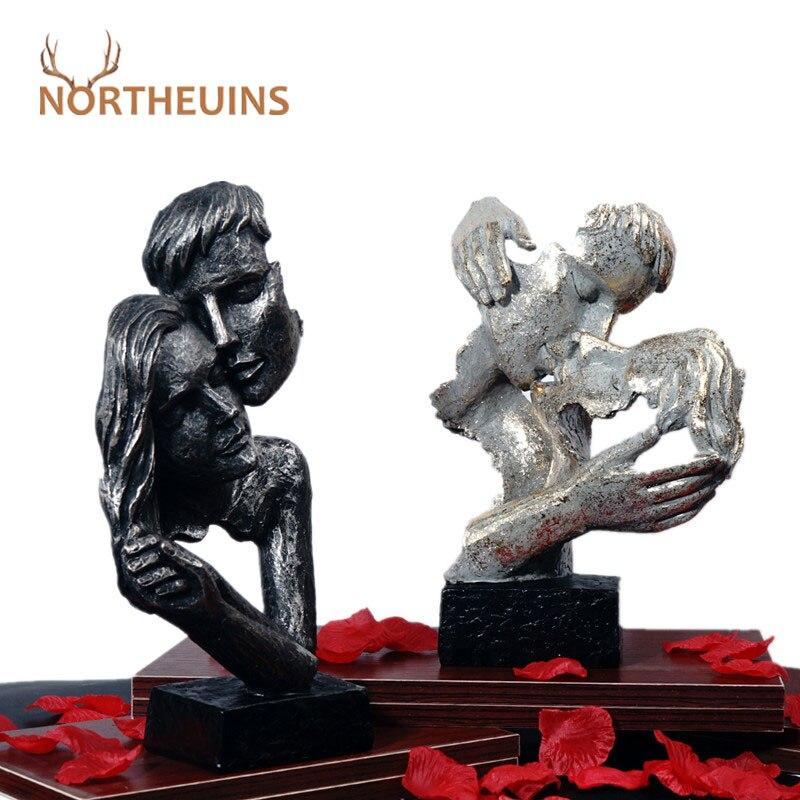 NORTHEUINS الراتنج تقبيل زوجين قناع تمثال عاشق مصغرة التماثيل للداخلية عيد الحب هدية ديكور المنزل سطح المكتب