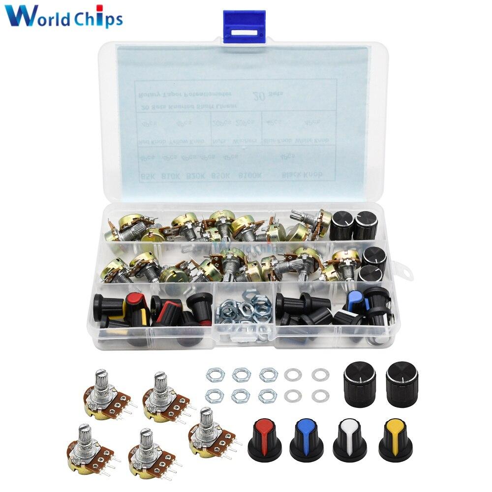 WH148 Linear Potentiometer B5K B10K B20K B50K B100K 3 Pin 15mm Welle Rotary Widerstand Mit Kappe Für Arduino