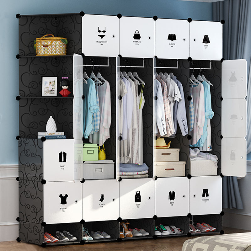خزائن غرفة نوم من الراتينج ، خزانة ملابس بسيطة قابلة للتجميع ، خزانة مقاومة للغبار ، منظم أثاث ، خزانة معيارية