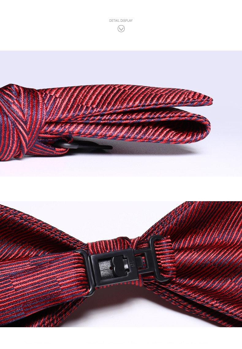 2020 Brand New Fashion Men's Bow Ties Double Fabric Red Blue Striped Bowtie Banquet Wedding Party Butterfly Tie with Gift Box