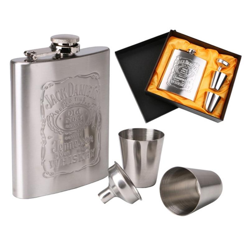 Petaca portátil de bolsillo de acero inoxidable 7oz, taza de vino, botella Wisky con caja, botella de Alcohol para beber, Set de regalo para hombre
