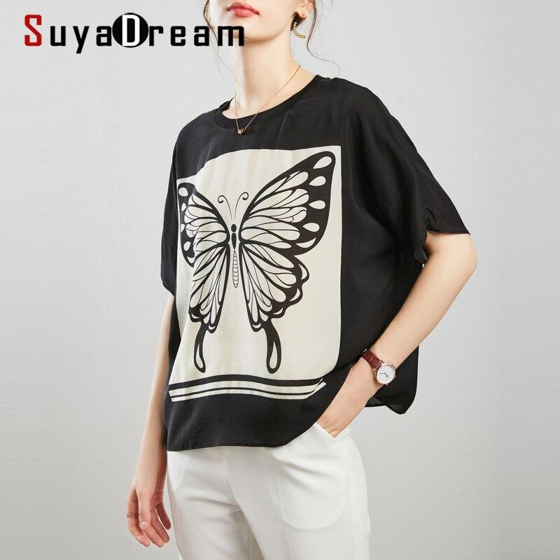 SuyaDream Korean Stye Blouse Women 100% Silk Bat Sleeves Print Blouse Shirt 2020 Summer Plus Size Shirts