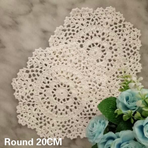 20CM redondo de lujo de algodón de comedor tapete hecho a mano de ganchillo patrón de flor taza de café posavasos mantel boda decoración de Navidad