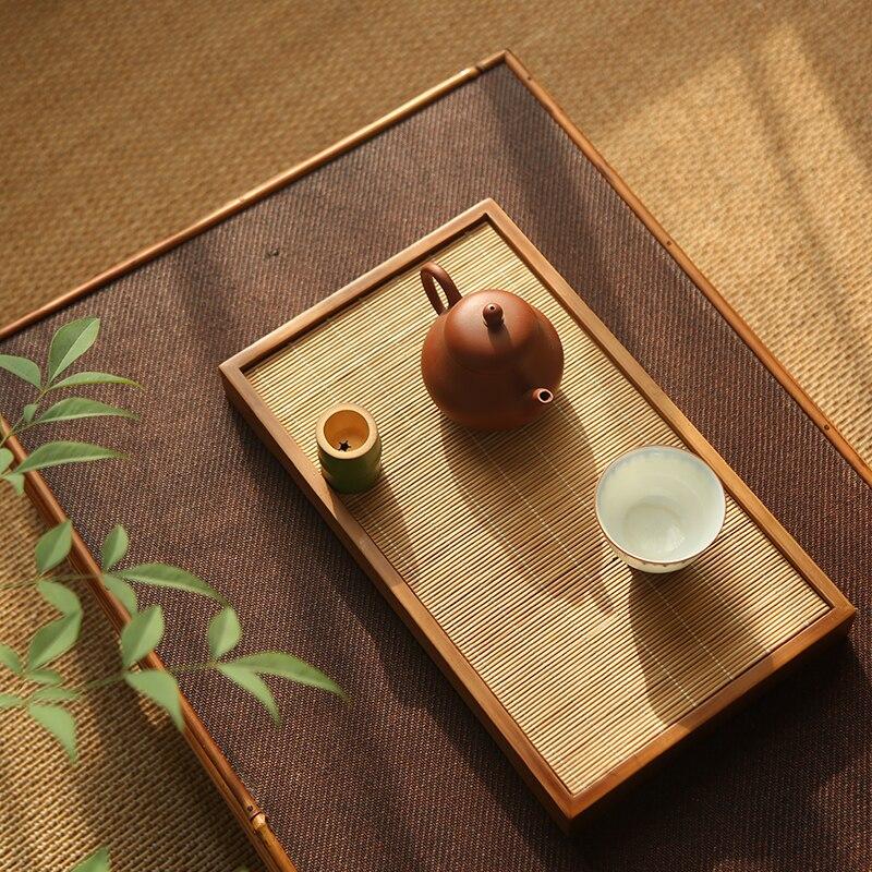 الحد الأدنى الخيزران صينية الشاي المنزلية اليابانية خشبية الكونغ فو صينية الشاي تخدم خمر Bandeja Madera اكسسوارات المطبخ DK50TT