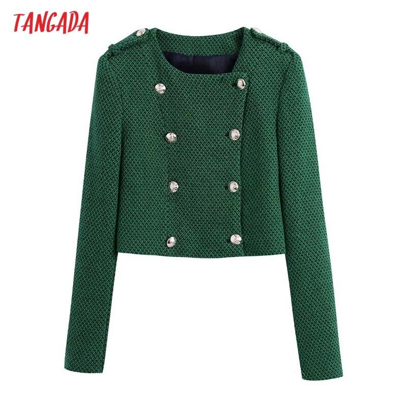سترة سترة عصرية للسيدات من Tangada موضة 2021 بألوان خضراء من التويد سترة عتيقة بأكمام طويلة وصدر مزدوجة ملابس خارجية للسيدات BE694