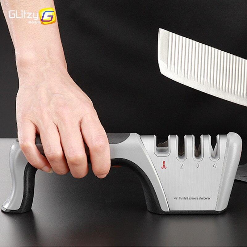Afilador de cuchillos 4 etapas tungsteno diamante cerámica cocina profesional afilador piedra amoladora piedra para afilar cuchillos afilador herramienta
