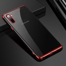 Coque de téléphone transparente Ultra-mince pour Galaxy S7 S8 S9 S10 Plus Note 8 9 10 Pro placage coque arrière en TPU pour Galaxy A30 A50 A70