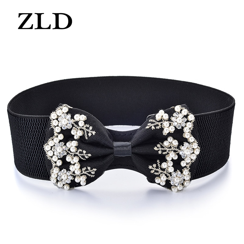 ZLD New fashion belts for women Imitation pearl embroidery bow elastic Decorative dress casual Wide girdle correas para mujer