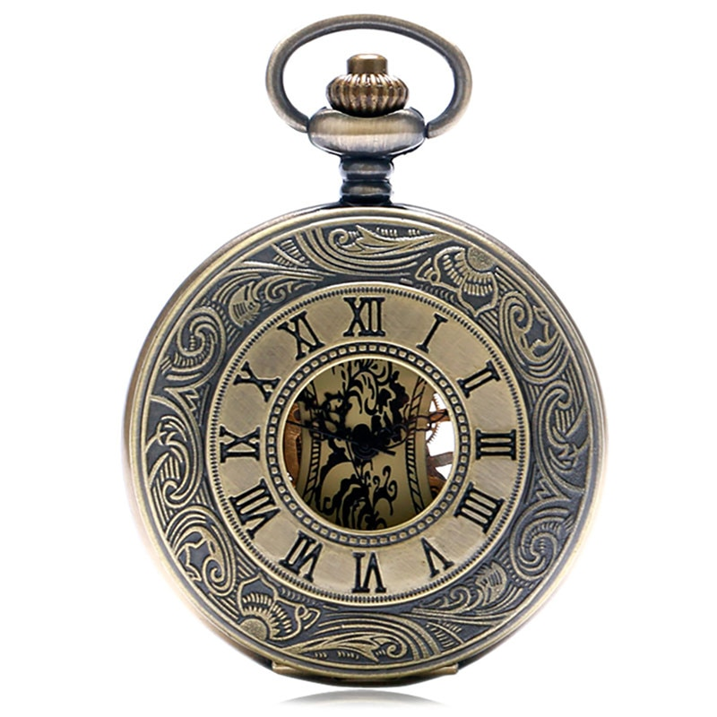 Bronze Roman Numerals Case Steampunk Pocket Watch Skeleton Mechanical Handwinding Watches with Fob Pendant Chain Gift To Men