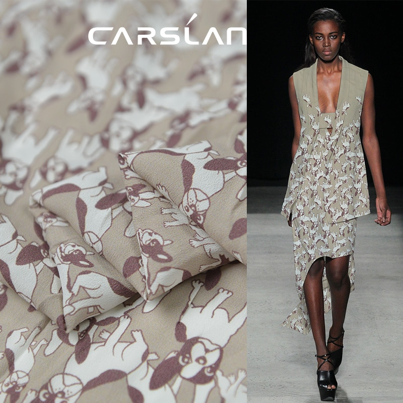 90cm length 130cm width animal design dog print silk cotton blended fabric,SCT671