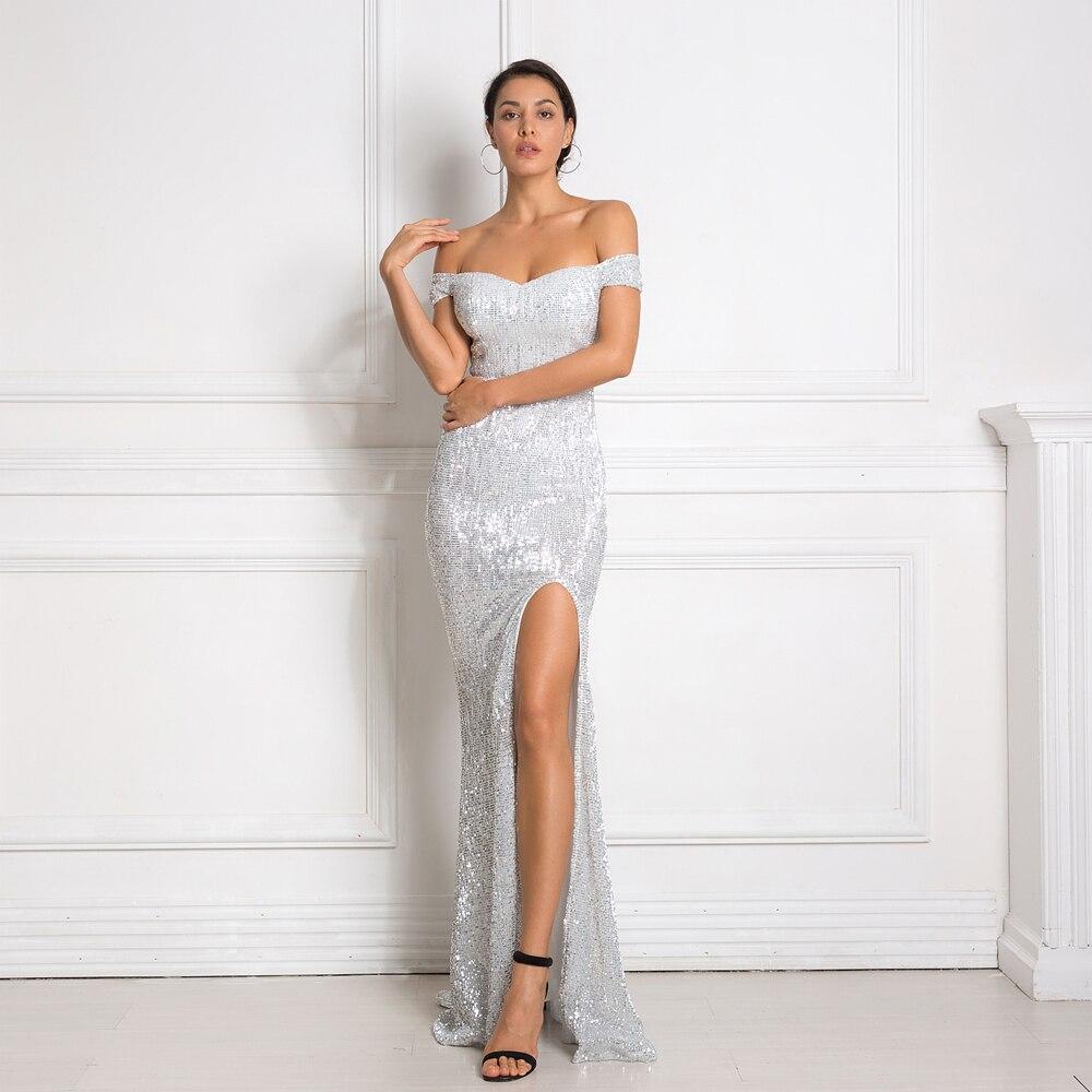 Champange-فستان سهرة طويل مزين بالترتر ، أكتاف عارية ، شق ، ساق ، ياقة مائلة ، أنيق ، لون ذهبي