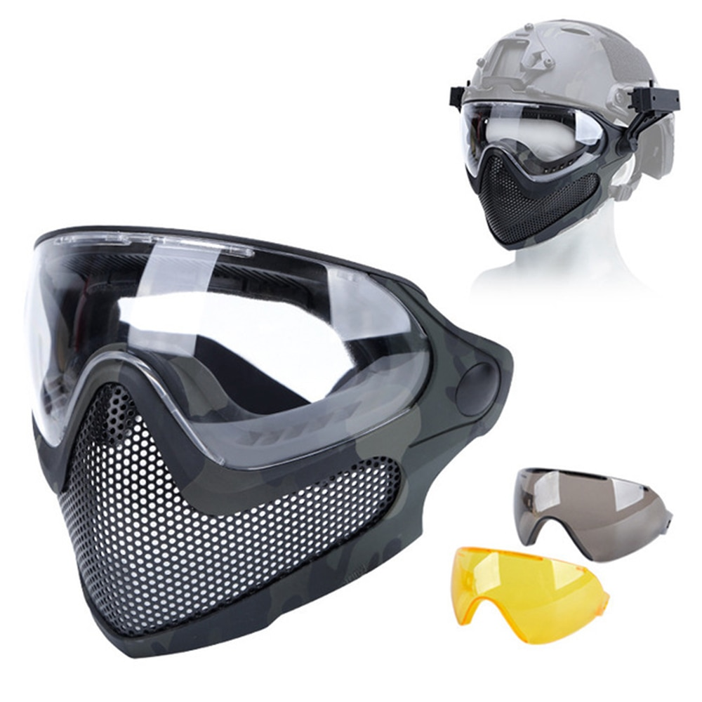 Tactical Mask Tracer Airsoft Mask Impact Resistant Matching FAST Helmet Steel Mesh Eye Protection Goggles For Airsoft Paintball airsoft paintball tactical helmet protective fast helmet abs tactical mask with goggles cs equipment