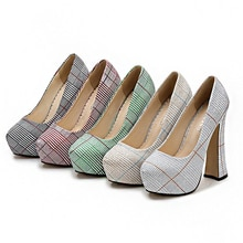2022 New Pink High Heels For Women's With Line Grid Designer Platform Sexy Fashion Shoes Large Size