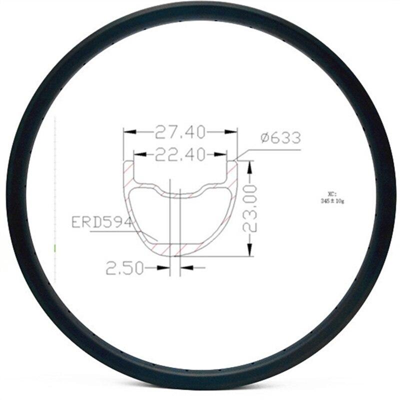 Grafeno 29er carbono mtn disco borde 27,4x23mm asimetría sin llanta de bicicleta mtb de llanta de bicicleta división de 594mm