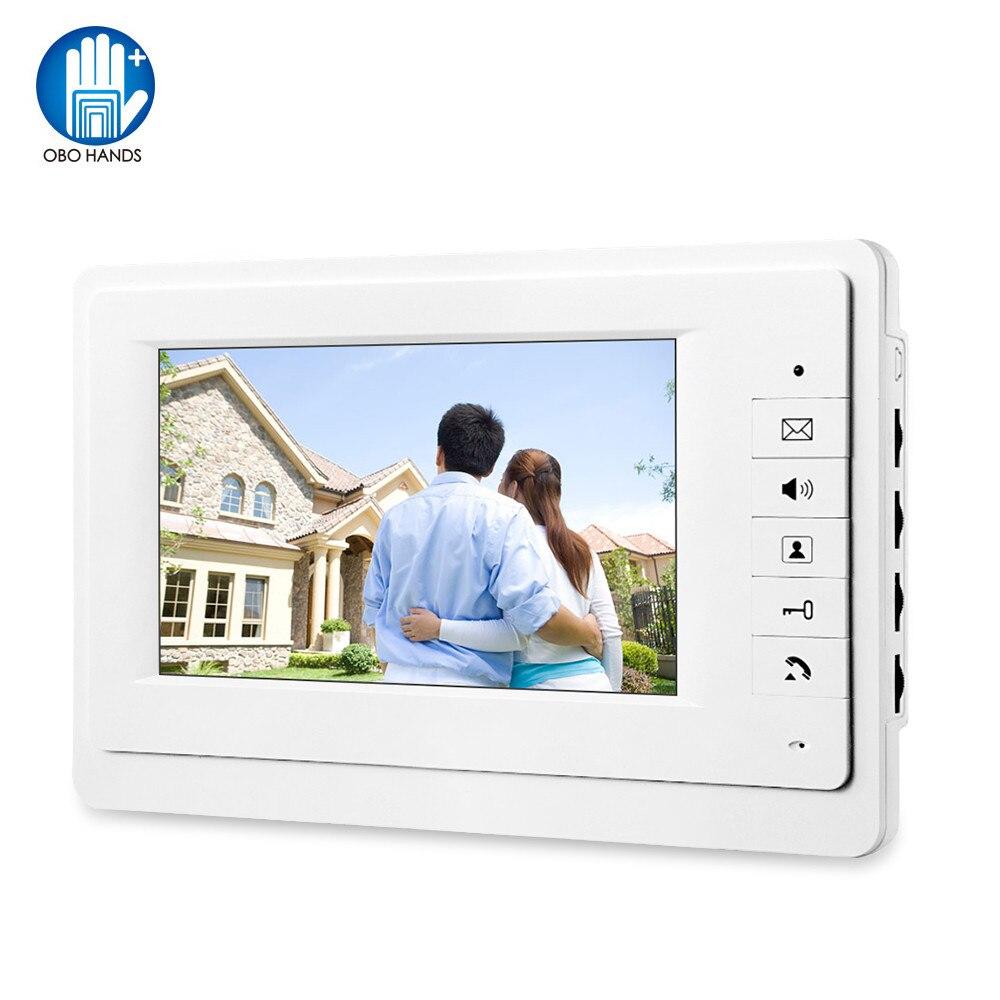 "7 ""TFT Color Video puerta teléfono intercomunicador sistema Video timbre interior Monitor unidad con 25 tonos de llamada para casa apartamento seguro V70"