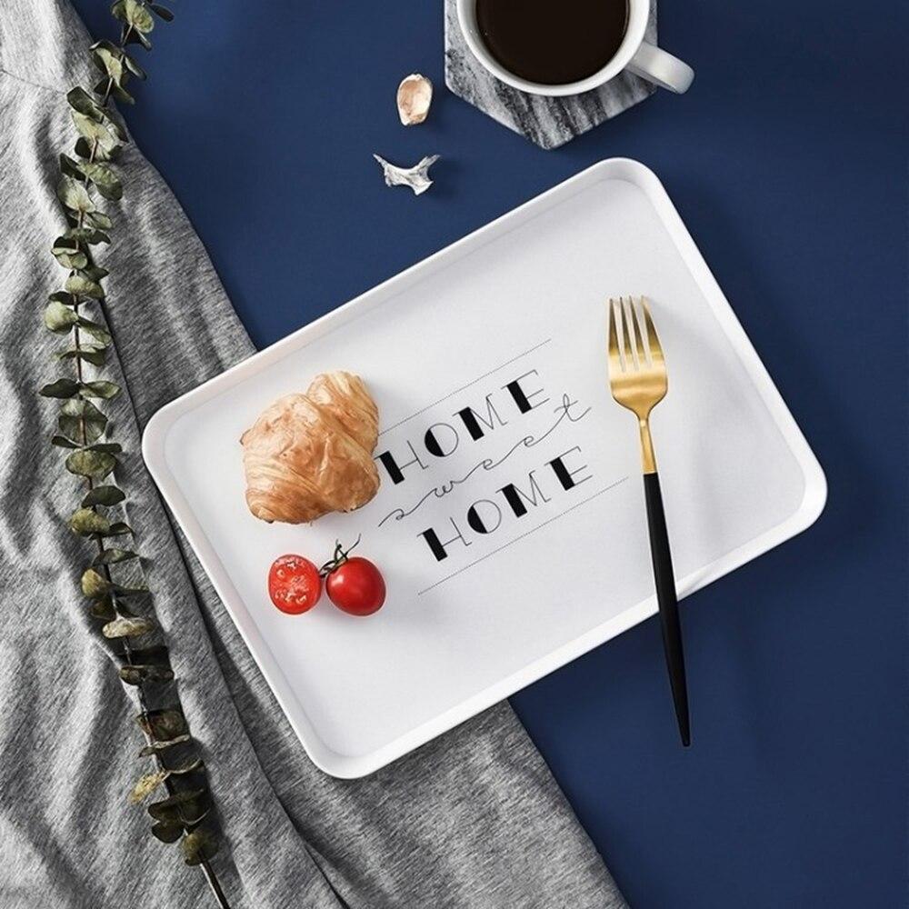 Placa de plástico retangular casa nordic personalidade simples pão café da manhã prato copo do hotel chá pequena bandeja