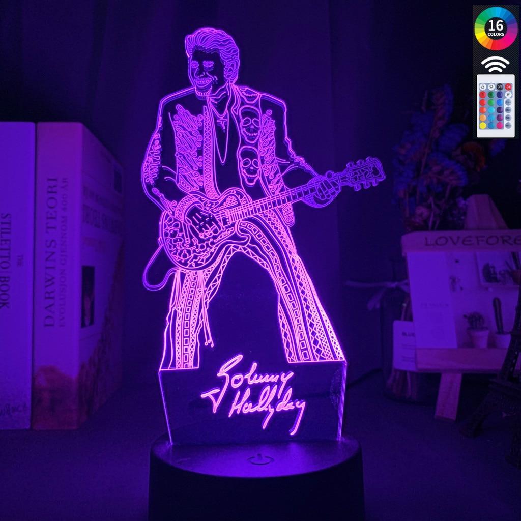 Colorido 3d led night light johnny hallyday guita figura nightlight para fãs clube quarto decoração iluminação usb lâmpada de mesa bateria