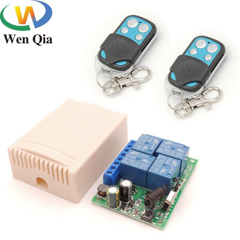 AC 85V ~ 220V 10Amp 2200W 4CH 433MHz rf Control remoto interruptor Relé inalámbrico receptor controlador para garaje  puerta  LED  bombilla