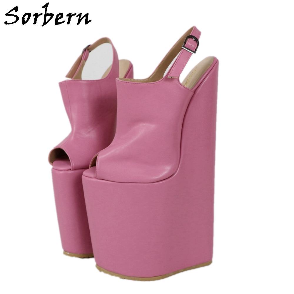 Sorbern-حذاء نسائي بكعب عالٍ ومقدمة مفتوحة ، حذاء صنم ، نعل سميك ، مقاس 30 سنتيمتر