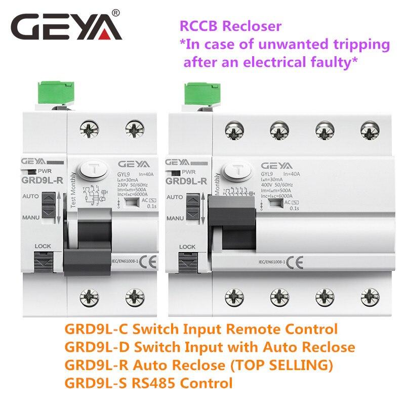 GRD9L-R dispositivo automático reclosing interruptor de controle remoto 2 p 4 p 40a 63a 30ma 100ma 300ma rcd 6ka elcb rccb geya
