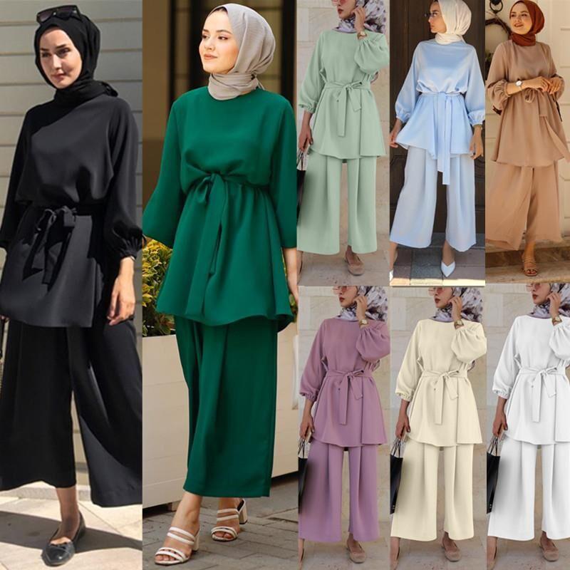طقم ملابس إسلامية من قطعتين عباية تركية للحجاب من عيد مبارك قفطان قفطان ملابس إسلامية عبايات نسائية