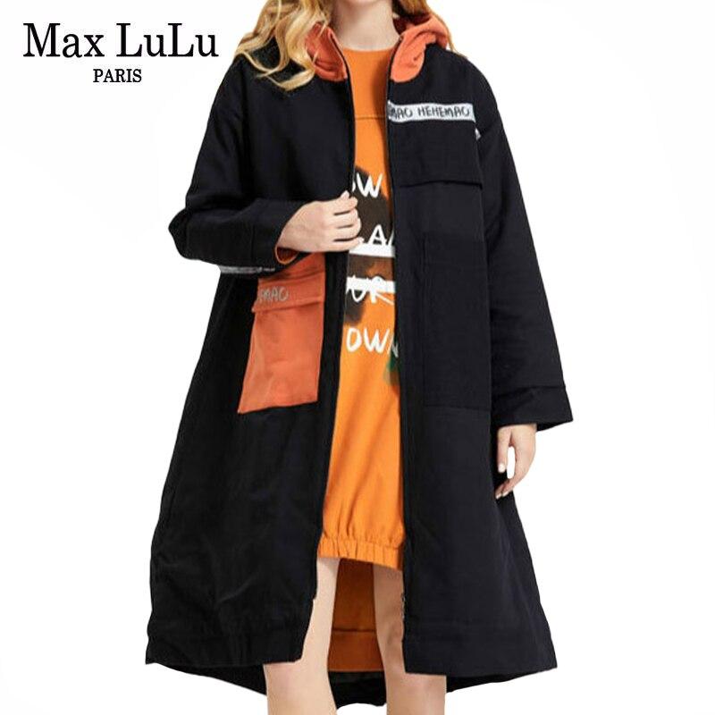 ماكس لولو-معاطف مبطنة عتيقة للنساء ، أزياء شتوية كورية ، جاكيتات مطبوعة بقلنسوة ، ملابس دافئة طويلة بانك ، مقاس كبير ، 2020
