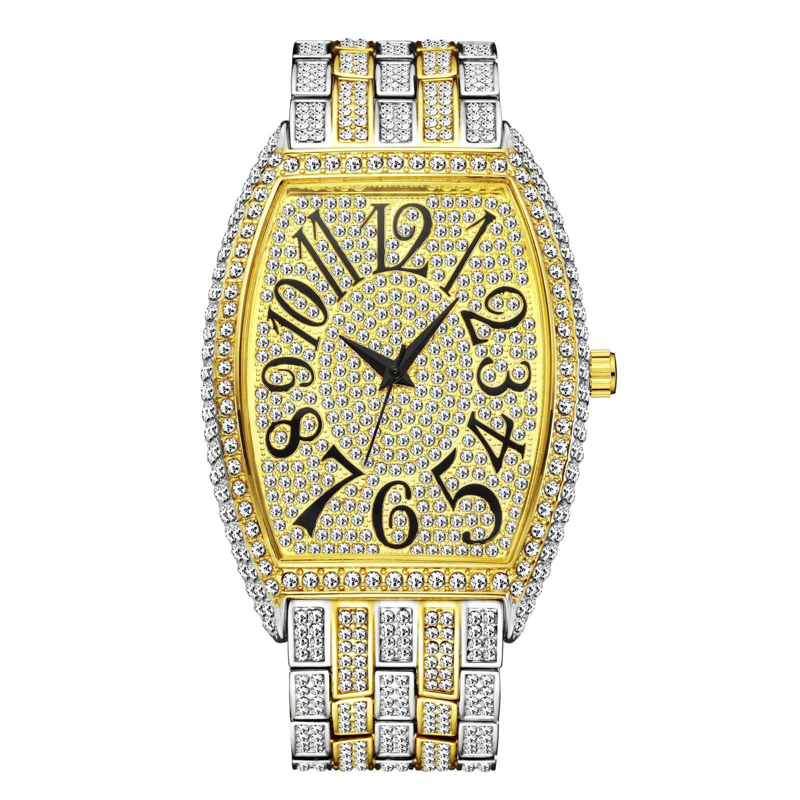 MISSFOX رجل ساعة مقاوم للماء بلينغ بلينغ الماس Tonneau الفاخرة الأعمال ساعة اليد كبيرة العربية العددية RM هدية دروبشيبينغ