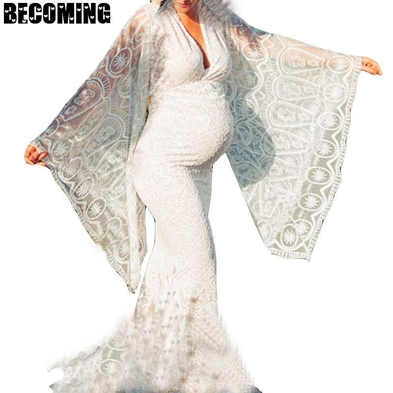 Pregnent Lace Dress For Photo Shoot Women Long Sleeve Pregnant Maxi Dress Maternity Gown Dress For Photography 1700885 enlarge