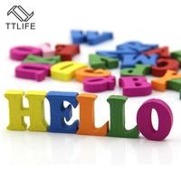 100 pcs / Diy Crafts Children Puzzles Toys Educational Wooden Alphabet Toy Scrabble Letters Colorful Decorative Letters Numbers