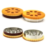55mm metal weed grinder exquisite 2 layers herb crusher protable stainless cookie shape tobacco grass grinder outdoor vacation