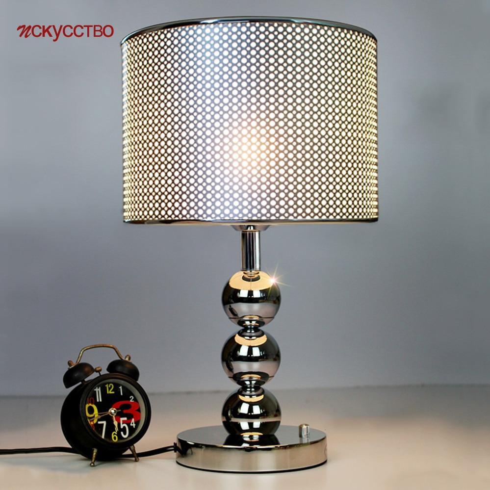 مصباح طاولة Led بتثقيب على الطراز الأمريكي من الفضة والمعدن ، مصباح مكتب ، مكتب ، دراسة ، ديكور منزلي حديث ، مصباح بجانب السرير