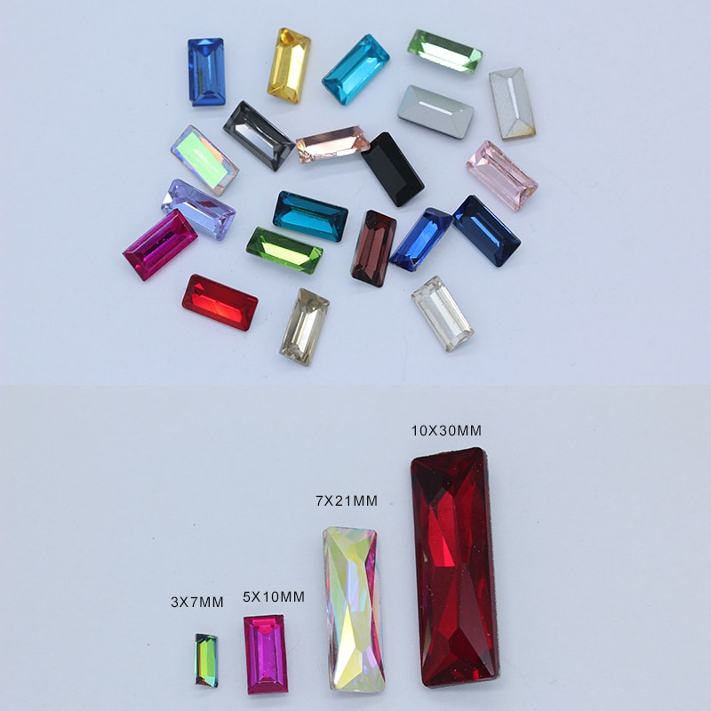 Toutes les tailles rectangle pointu arrière verre fantaisie pierre cristal strass diamante bijoux à bricoler soi-même design gemme pour vêtements de robe de mariée