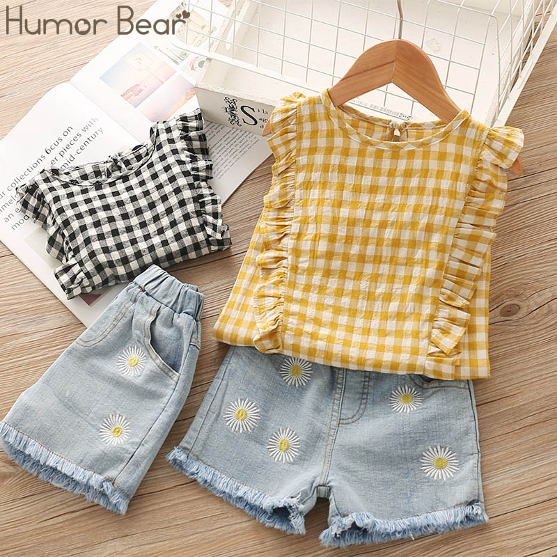 Humor Bear Girls Summer Clothes Brand New Children Lace Stripe Girl Tops+ Denim Pant 2PCS Set Baby Girls Clothing Suit